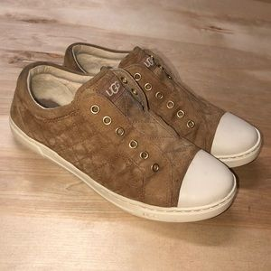 UGG Brown Quilted Sneakers Shoes Size 8.5